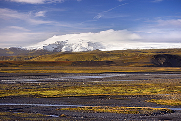 Glacial river valley, Myrdalsjokull glacier in the distance, near Vik, South Iceland, Iceland, Polar Regions