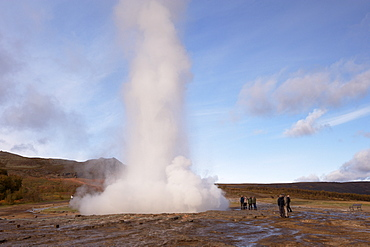 Strokkur (the Churn) erupts every 5-10 minutes to heights of up to 20 meters (70ft), Geysir, Golden Circle, Iceland, Polar Regions