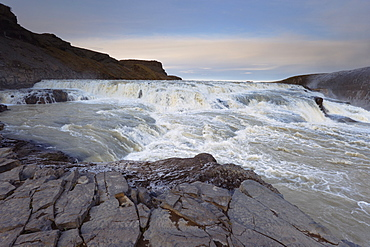 Gullfoss Waterfall (Golden Waterfall) in winter, Golden Circle tourism trail, Hvita River, Haukadalur, Iceland, Polar Regions
