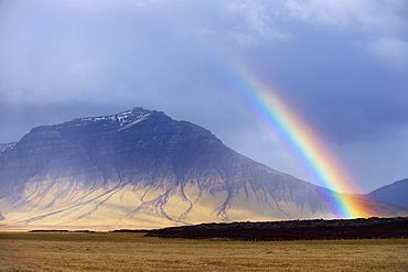 Rainbow over hills, Snaefellsnes Peninsula, West Iceland, Iceland, Polar Regions