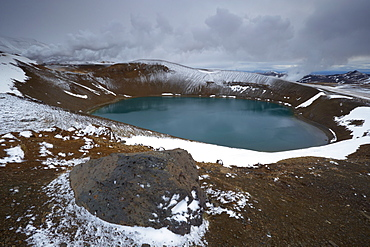 Crater lake Viti in winter, on Krafla volcano, Krafla geothermal area near Lake Myvatn, north Iceland, Iceland, Polar Regions