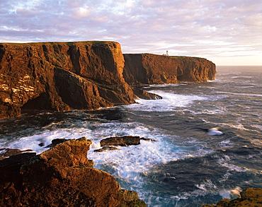 Eshaness Cliffs and lighthouse, Shetland Islands, Scotland, United Kingdom, Europe