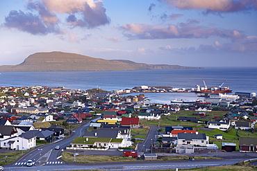 Torshavn and harbour, Nolsoy in the distance, Streymoy, Faroe Islands (Faroes), Denmark, Europe