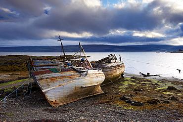 Old fishing boats at Salen, Isle of Mull, Inner Hebrides, Scotland, United Kingdom, Europe