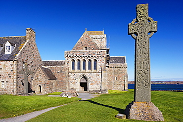St. Martin's Cross, magnificent Celtic carved cross dating from the 8th century, Isle of Iona, Inner Hebrides, Scotland, United Kingdom, Europe