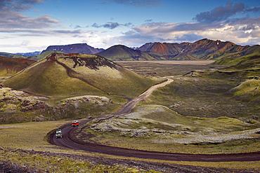 Small volcano and mountains in Nordunamshraun, seen from Namshraun, Landmannalaugar area, Fjallabak region, Iceland, Polar Regions