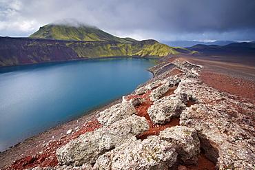 Blahylur crater lake in the Landmannalaugar area,Tjorvafell, 843 m in the distance, Fjallabak region, Iceland, Polar Regions
