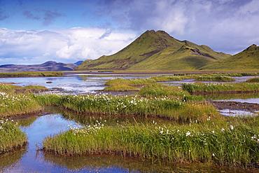 Stori-Kylingu, 730 m, overlooks Kylingar vegetated lakeshore, east of Landmannalaugar area, Fjallabak region, Iceland, Polar Regions