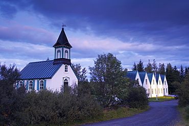 Thingvellir national church and Thingvallabaer, a five-gabled farmhouse, official summer residence of Iceland's Prime Minister, Thingvellir National Park, UNESCO World Heritage Site, south-west Iceland (Sudurland), Iceland, Polar Regions