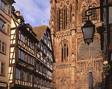 West front of Notre-Dame Gothic cathedral, from Rue Merciere, UNESCO World Heritage Site, Strasbourg, Alsace, France, Europe