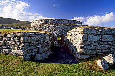 The blockhouse guarding the entrance, Clickhimin broch (fortified tower), Lerwick, Mainland, Shetland Islands, Scotland, United Kingdom, Europe