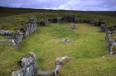 Large Neolithic communal house or temple, Stanydale Temple Neolithic site, Stanydale, West Mainland, Shetland Islands, Scotland, United Kingdom, Europe