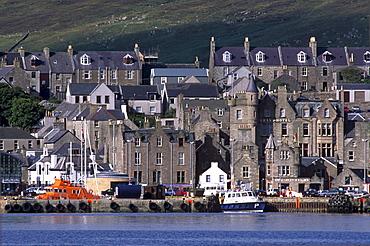 Lerwick seafront, from Bressay, Shetland Islands, Scotland, United Kingdom, Europe