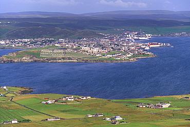 Lerwick town and Bressay Sound from Bressay Island, Shetland Islands, Scotland, United Kingdom, Europe