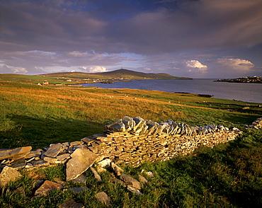 Bressay, Lerwick town and Bressay Sound from Bressay island, Shetland Islands, Scotland, United Kingdom, Europe