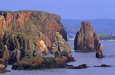 Stoura Pund cliffs and stacks of red sandstone, Eshaness, Northmavine, Shetland Islands, Scotland, United Kingdom, Europe