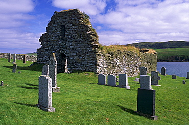 St. Olaf's Norse church, Lunda Wick, built around 1200 and still used in 1785, graveyard has two memorial stones for Bremen merchants, who died in the 16th-century, Unst, Shetland Islands, Scotland, United Kingdom, Europe