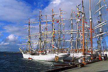 Lerwick harbour, hosting Cutty Sark Tall Ships race boats in 1999, Lerwick, Mainland, Shetland Islands, Scotland, United Kingdom, Europe