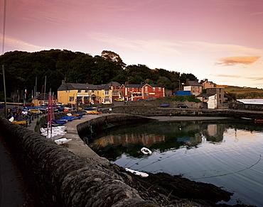 Marine Hotel at sunset, Glandore, County Cork, Munster, Republic of Ireland (Eire), Europe