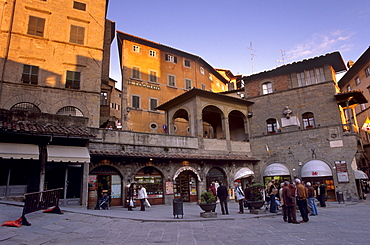 Piazza della Repubblica in the evening in the medieval town of Cortona, Tuscany, Italy, Europe