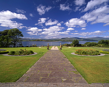 Gardens of Bantry House dating from 1720, Bantry Bay behind, Bantry, County Cork, Munster, Republic of Ireland, Europe