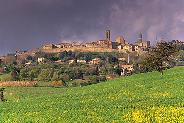 The medieval and Etruscan city of Volterra after a storm, Tuscany, Italy, Europe