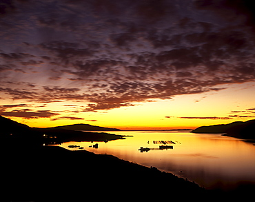 West Loch Tarbert at sunset, North Harris, Outer Hebrides, Scotland, United Kingdom, Europe