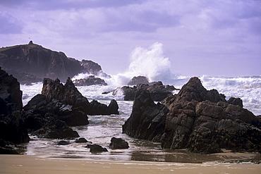 Gale-force winds near Mealista, west coast, Isle of Lewis, Outer Hebrides, Scotland, United Kingdom, Europe