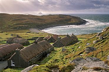 Garenin Black House village, Garenin (Gearranan), west coast of Lewis, Isle of Lewis, Outer Hebrides, Scotland, United Kingdom, Europe - 770-684