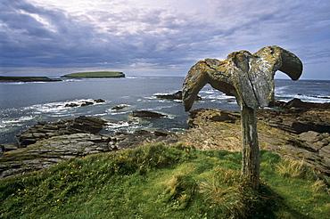 Whalebone at Skippigeo, Mainland, Orkney Islands, Scotland, United Kingdom, Europe