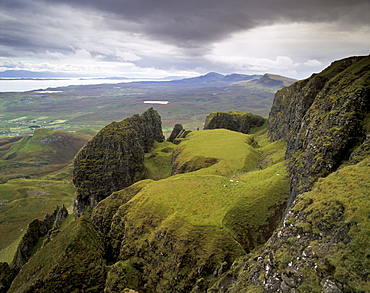 The Quiraing escarpment (The Table) ( The Prison), overlooking the Sound of Raasay, Trotternish, Isle of Skye, Inner Hebrides, Scotland, United Kingdom, Europe