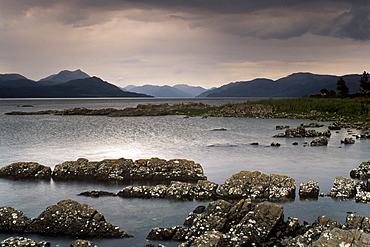 Loch na Dal and Sound of Sleat, from near Duisdalemore, Sleat peninsula, Mainland Scotland Hills behind, Isle of Skye, Inner Hebrides, Scotland, United Kingdom, Europe