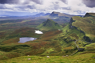 Slopes of the Quiraing, a geological wonder, its distinctive features resulting from landslips of basalt lavas upon softer sedimentary rocks beneath, northeast coast of Trotternish Peninsula, Isle of Skye, Inner Hebrides, Scotland, United Kingdom, Europe