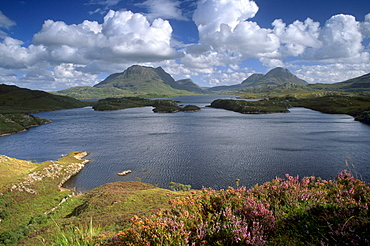 Loch Sionascaig, Cul Mor on left, and Cul Beag on right, Inverpolly Nature Reserve, Sutherland, Highland region, Scotland, United Kingdom, Europe