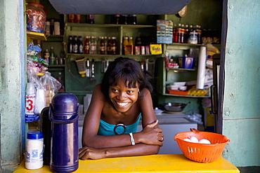 Haitian woman, Las Terrenas, Samana Peninsula, Dominican Republic, West Indies, Caribbean, Central America