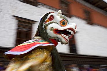Buddhist festival (Tsechu), Trashi Chhoe Dzong, Thimphu, Bhutan, Asia