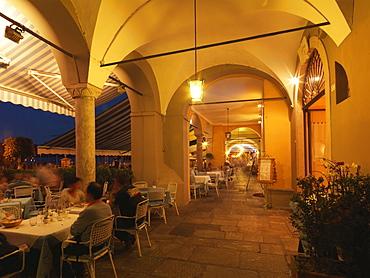 Outdoor restaurants, Cannobio, Lake Maggiore, Italian Lakes, Piedmont, Italy, Europe
