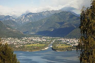 River Maggia and the towns of Ascona and Locarno, Lake Maggiore, Canton Tessin, Switzerland, Europe