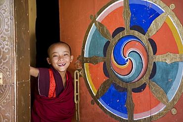 Buddhist monk, Paro Dzong, Paro, Bhutan, Asia