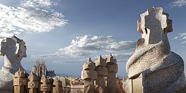 Casa Mila, UNESCO World Heritage Site, Barcelona, Catalonia, Spain, Europe