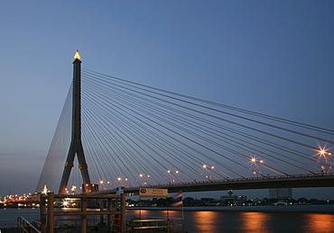 The Rama VIII Bridge, over Chao Phraya River, Bangkok, Thailand, Southeast Asia, Asia