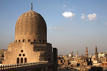 The dome of Bab Zuweila, overlooking Islamic Cairo and the area of Khan al-Khalili, Cairo, Egypt, North Africa, Africa