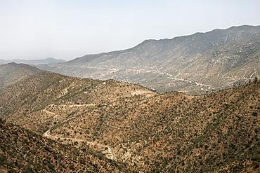 The mountainous landscape on the road between Asmara and Massawa, Eritrea, Africa