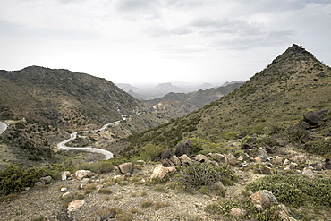 The Sheekh Mountains and the Burao to Berbera road, leading from the central plateau down to the coastal plain, Somaliland, northern Somalia, Africa