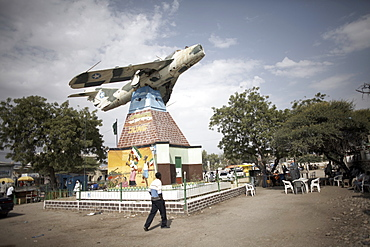 A Somali Air Force MiG jet used to bomb Hargeisa stands as a memorial in the center of Hargeisa city, capital of Somaliland, Somalia, Africa