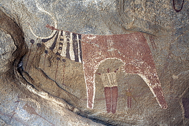 Five thousand year-old cave paintings in Lass Geel caves, Somaliland, northern Somalia, Africa