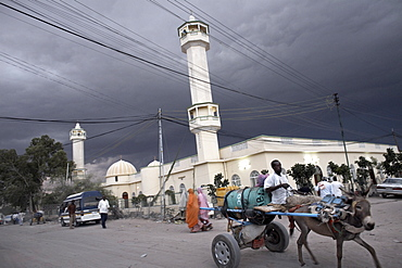 Storm clouds gather over a mosque in the center of Hargeisa, capital of Somaliland, Somalia, Africa