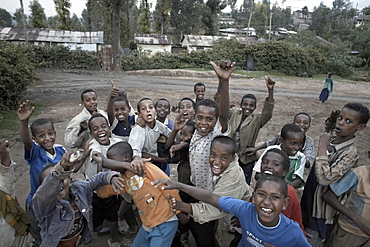 Faranji frenzy greets most tourists who visit Ethiopia, here children shout and scream, with faranji being the Amharic word for foreigner, Harar, Ethiopia, Africa