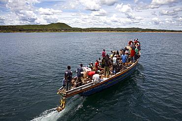 A boat on Lake Tanganyika, Tanzania, East Africa, Africa