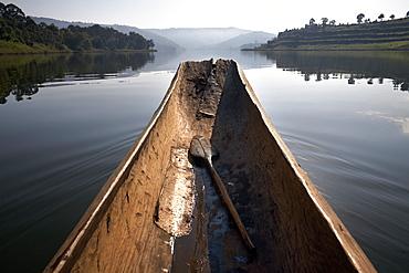 A dugout canoe on Lake Bunyoni, Uganda, East Africa, Africa